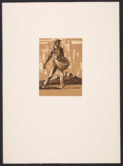 [Bookplate, sower city background]