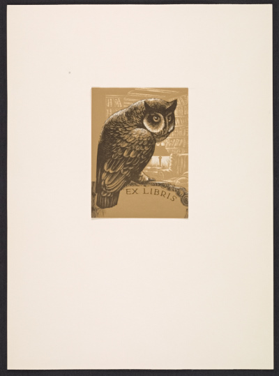 [Lynd Ward bookplate with owl design]