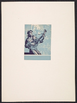 [Lynd Ward bookplate with design of a guitar player ]