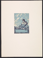 Lynd Ward bookplate with design of a young man reading