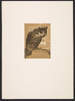 [Lynd Ward bookplate with owl design ]