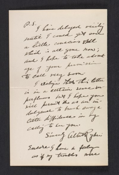 A fragment of a letter from Albert Pinkham Ryder to Olin Levi Warner