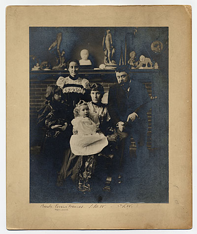 Formal portrait of the Olin Warner family.