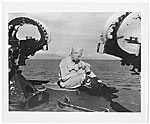 Dwight Shepler sitting on a boat