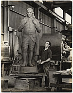 William Zorach with sculpture