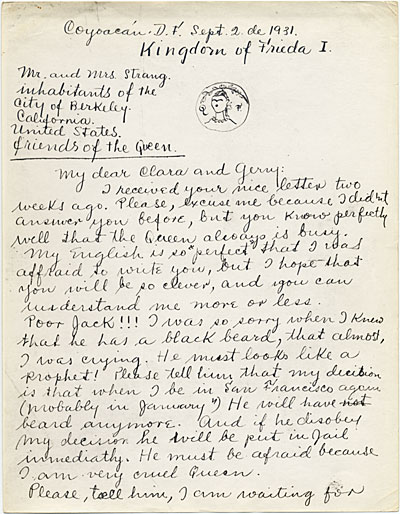 Frida Kahlo, Coyoacan, Mexico letter to Clara Strang Weatherwax, Berkeley, Calif.
