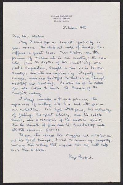 Lloyd Goodrich letter to Mrs. Max Weber