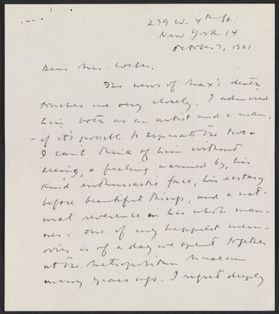 Meyer Schapiro letter to Mrs. Max Weber