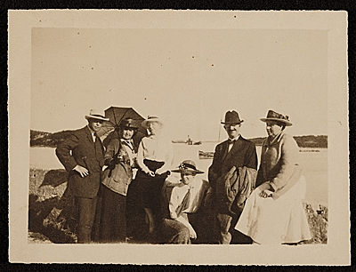 Edwin Ambrose Webster with others at the shore
