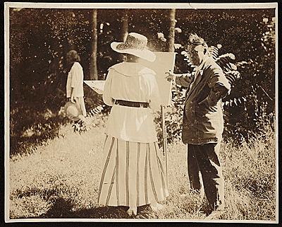 Edwin Ambrose Webster and a student in an plein air painting class
