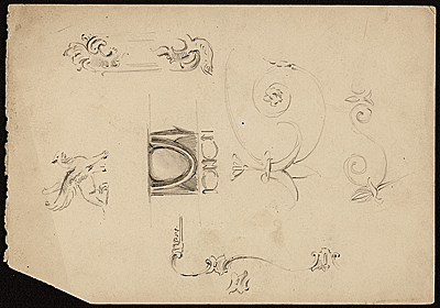 Edwin Ambrose Webster sketches of architectural ornaments and figures of people