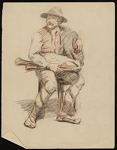 Sketch of a seated man by Edwin Ambrose Webster