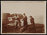 Edwin Ambrose Webster, Georgianna Webster, and unidentified woman plein air painting