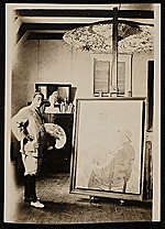 Edwin Ambrose Webster painting in his studio