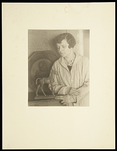Katharine Lane Weems with one of her sculptures