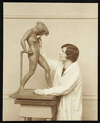 [Katharine Lane Weems working on a sculpture]