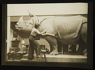 [Katharine Lane Weems at work on 'Rhinoceros']