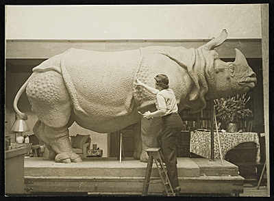 Katharine Lane Weems at work on her sculpture Rhinoceros