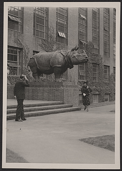 Katharine Weems being introduced at the unveiling ceremony for her rhino sculptures at Harvard