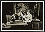 Katharine Lane Weems working on a sculpture of a greyhound