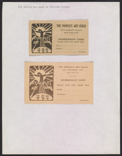 [A page of membership cards for The People's Art Guild valid for the 1916]