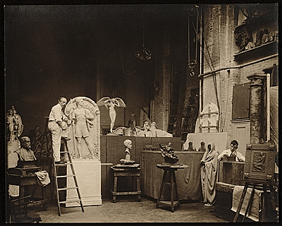 Adolph Weinman at work in his studio