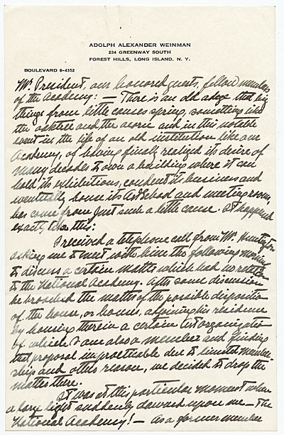 Adolph Weinmans notes from a speech to the President of the National Academy of Design and Members