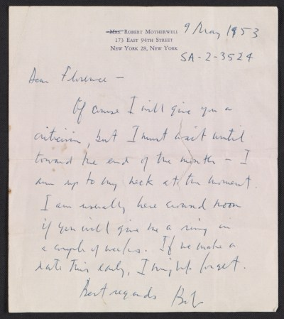 [Robert Burns Motherwell letter to Florence Weinstein]