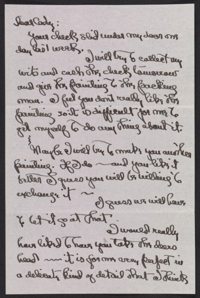 [Georgia Totto O'Keeffe letter to Cady Wells]