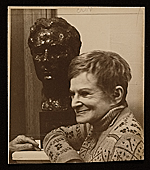 Anita Weschler with her bust of William Zorach