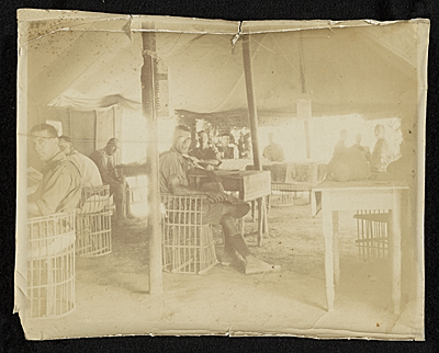 [Harold Weston inside officer's Library and Tea Room, Baghdad, Persia]