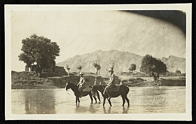 Harold Weston and Mr. Stead, the American Missionary, at the ford, outside Bagdad, Persia