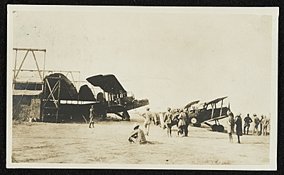 [The Hadley-Page and a long line of scouts and fighting planes drawn up for inspection, Baghdad, Persia]