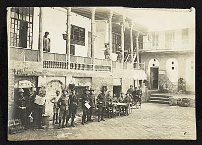 View of YMCA courtyard and canteen in Baghdad, Persia.