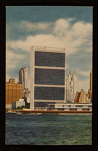 [Postcard of a view of the United Nations building from Long Island City]