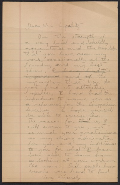 [Robert W. White draft of a letter to Jacques Lipchitz]