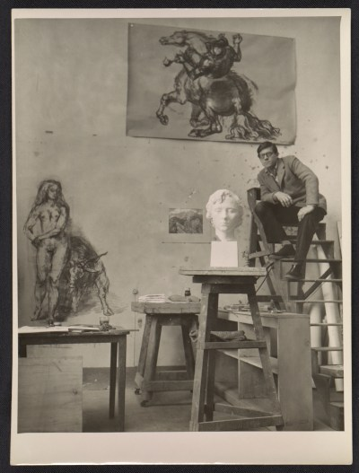 [Robert W. White in his studio in Rome, Italy]