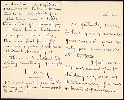 Harry Payne Whitney letter to Gertrude Vanderbilt Whitney