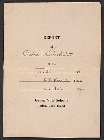 Gloria Vanderbilt report card
