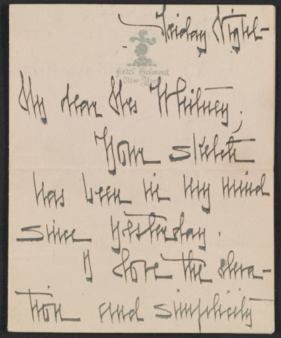 [Letter from Natalie H. Hammond to Gertrude Vanderbilt Whitney]