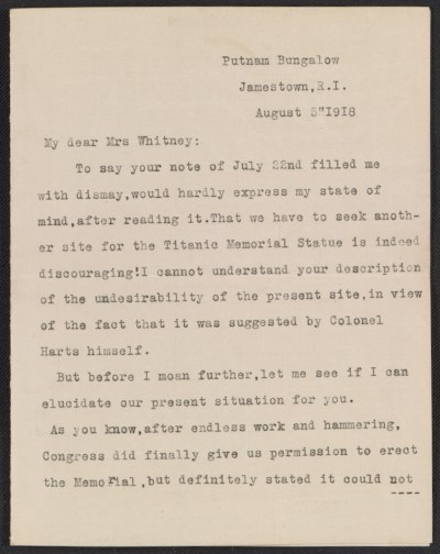 [Letter from Mary C. Chew to Gertrude Vanderbilt Whitney]