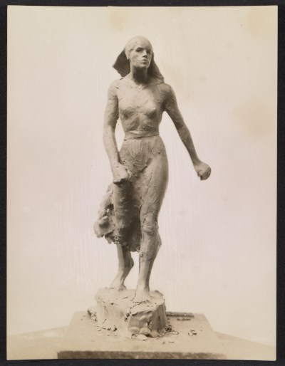 Clay model of Gertrude Vanderbilt Whitneys sculpture Spirit of the Red Cross