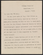 Letter from Mary C. Chew to Gertrude Vanderbilt Whitney