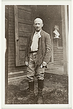 Abbott Handerson Thayer standing in front of his Dublin, New Hampshire studio/home