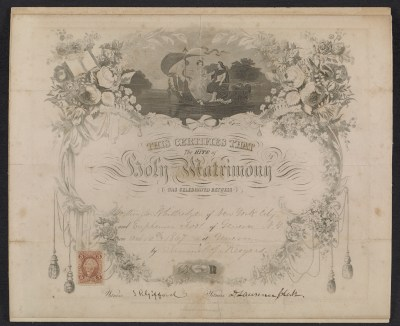 [Worthington Whittredge marriage certificate]