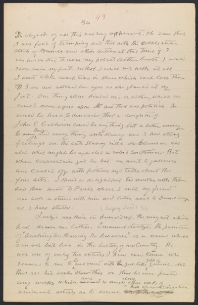 Worthington Whittredge manuscript of autobiography