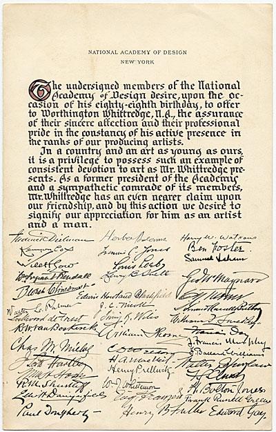 [Declaration by Members of the National Academy of Design Honoring Worthington Whittredge on his Eighty-Eighth Birthday]