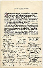 [Declaration by Members of the National Academy of Design Honoring Worthington Whittredge on his Eighty-Eighth Birthday page 1]