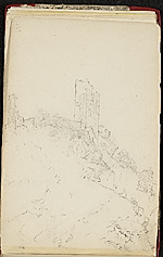 [Worthington Whittredge sketchbook of a trip down the Rhine River sketchbook page 49]