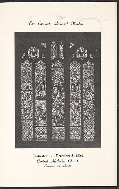 [The dedication service of The Scott Memorial Window at the Central Methodist Church, Lawrence, Mass.]